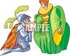 Knight Kissing a Lady's Hand clipart