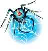 Cartoonish Black Widow in Her Web clipart