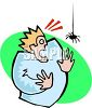 Spider Scaring a Guy clipart