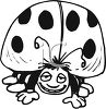 Black and White Cartoon Ladybug clipart
