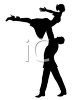 Silhouette of a Male Dancer Holding a Female Dancer Above His Head clipart