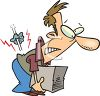 Cartoon of a Man Injuring His Back Lifting a Box the Wrong Way clipart