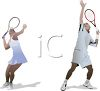 Couple Playing a Tennis Match clipart