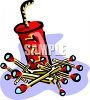Pile of Wooden Matches and a Stick of Dynamite clipart