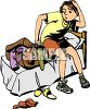 Boy Trying to Get an Over Filled Suitcase Closed clipart