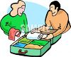 Man and Woman Packing a Suitcase for a Trip clipart