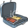 Open Suitcase with Clothes Inside clipart