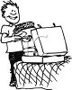 Black and White Cartoon of a Kid Going Off to College clipart