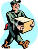 Mover Carrying a Large Box clipart