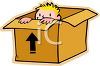 Boy Hiding in a Large Box clipart