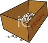 Cardboard Box with Packing Peanuts Inside and Fragile on the Outside clipart