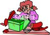 Cartoon of a Woman Wrapping a Gift clipart