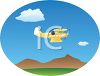 Biplane Soaring Over Mountians in a Blue Sky clipart