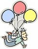 Cartoon Guy Floating Away on a Bouquet of Balloons clipart