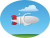 Blimp Floating in a Blue Summer Sky clipart
