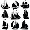 Silhouettes of Different Clipper Ships clipart