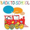 Back to School Text with Kids in a Choo Choo Train clipart