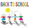 Back to School Text with Children Holding Hands clipart