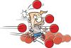 Schoolboy Getting Hit By Dodge Balls clipart