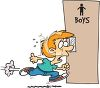 Male Student Rushing to the Bathroom clipart