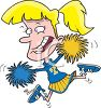Over Excited Cheerleader at a Pep Rally clipart