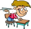 Problem Child Throwing a Paper Airplane in Class clipart