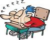 Schoolboy Sleeping at His Desk in Class Cartoon clipart