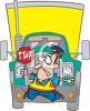 Cartoon of a Truck Hitting a Crossing Guard clipart