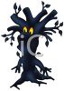 Creepy Dark Tree with a Face and Glowing Eyes clipart