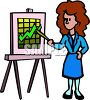 Cartoon of a Woman Giving a Company Growth Presentation clipart