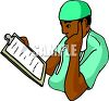 African American Doctor Studying a Patient Chart clipart