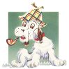 Vintage Scottie Dog Smoking a Pipe clipart