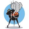 Backyard Grill with Flames and Smoke clipart