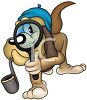 Cartoon Hound Dog Private Detective Searching for Clues clipart