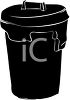 Silhouette of a Trash Can clipart