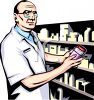 Pharmacist Holding a Bottle of Medication clipart
