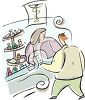 Pharmacy Clerk Helping a Customer clipart