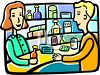 Pharmacist Clerk with a Customer clipart