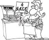 Black and White Cartoon of a Sales Clerk Holding a 4 Sale Sign by a Cash Register clipart