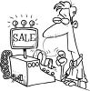 Black and White Cartoon of a Man Using a Cash Register clipart