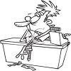 Black and White Cartoon of a Frazzled Sales Clerk clipart