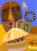 Travel Ad African Masks and Souvenirs clipart