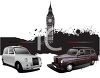 British Taxi Cabs Parked with Big Ben in the Background clipart