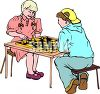 Children playing chess clipart