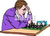 Man competing at the game of chess clipart
