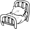 Black and White Cartoon Bed clipart