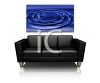 Sleek Leather Sofa with a Mounted Painting on the Wall clipart