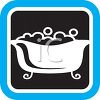 Bathtub Icon with Bubbles and a Claw Foot Tub clipart