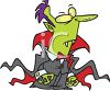 Cartoonish Vampire Wearing a Cape clipart
