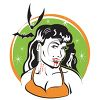 Retro Vampire Girl with Bats and Bloody Holes in Her Neck clipart
